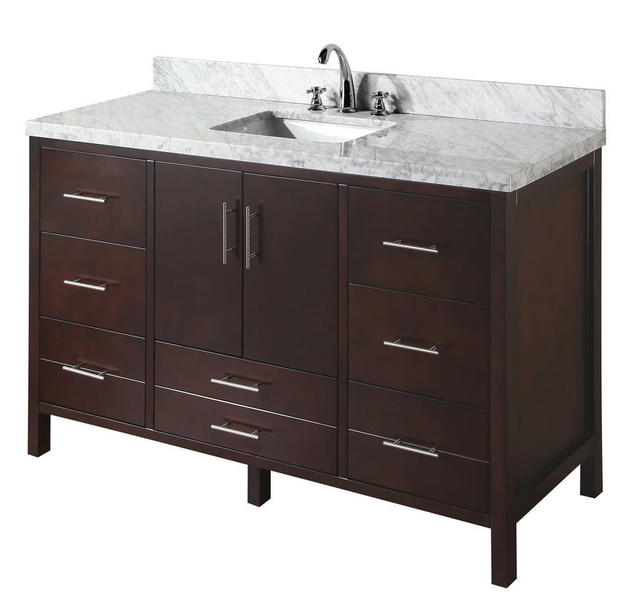 "California 60"" Single Sink Bathroom Vanity in Carrara Marble & Chocolate"