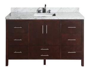 California 60-inch Single Vanity (Carrara Marble)