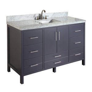 "California 60"" Single Sink Bathroom Vanity in Carrara Marble & Charcoal Gray"