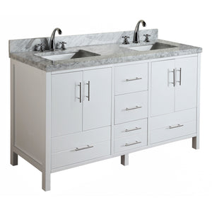 "California 60"" White Double Bathroom Vanity with Carrara Marble Top"