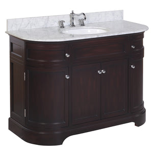 "Montage 48"" Chocolate Brown Bathroom Vanity with Carrara Marble Top"