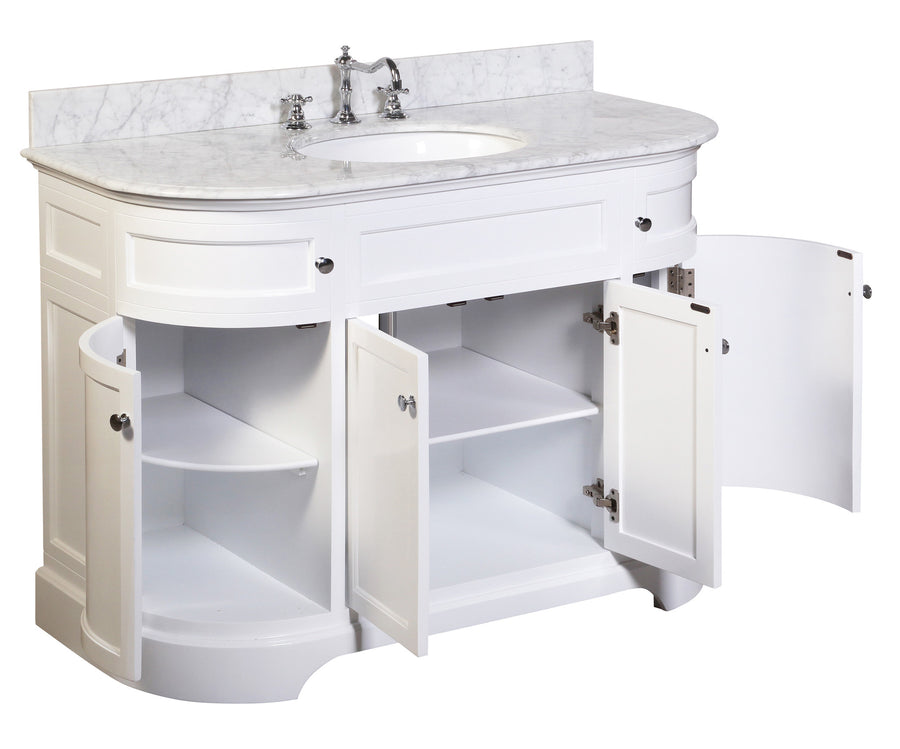 "Montage 48"" White Bathroom Vanity with Carrara Marble Top"