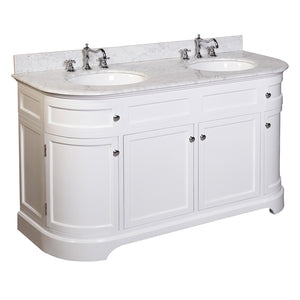 "Montage 60"" White Double Bathroom Vanity with Carrara Marble Top"