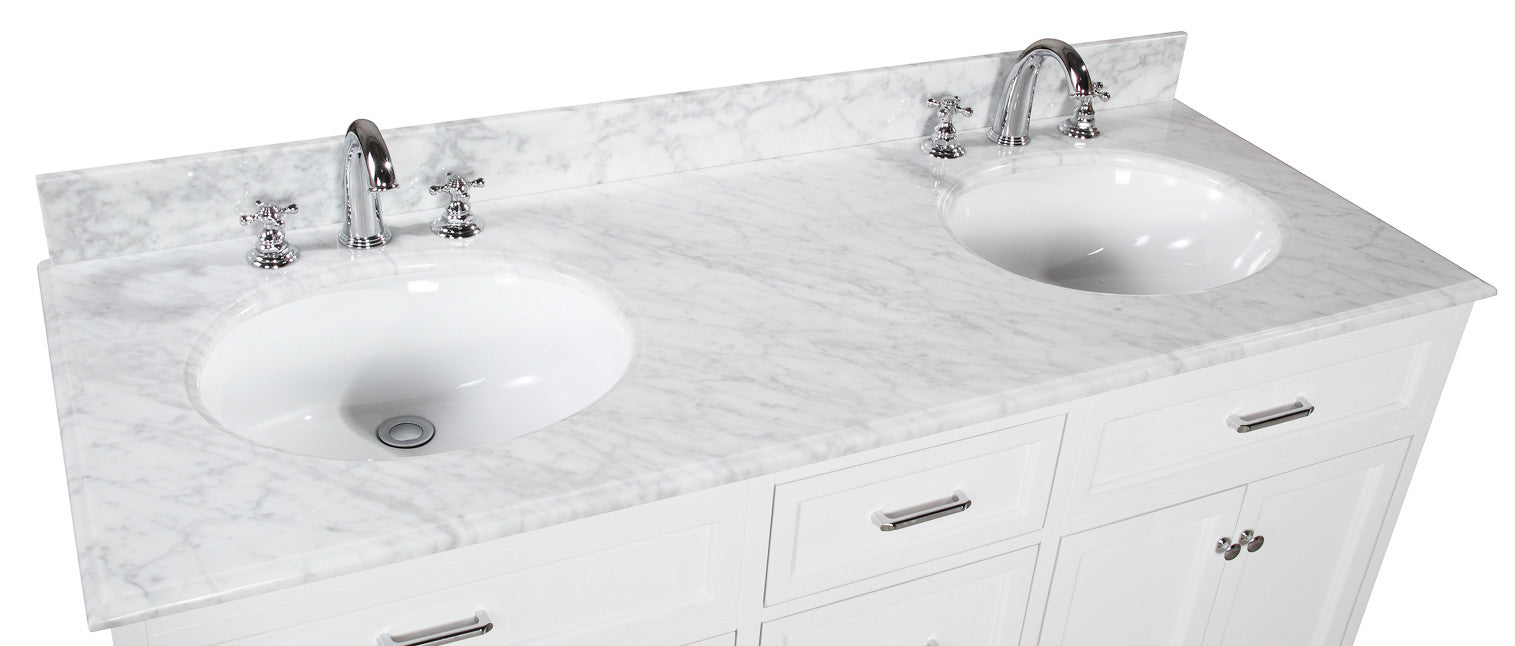 Amelia 60-inch Double (Carrara/White)