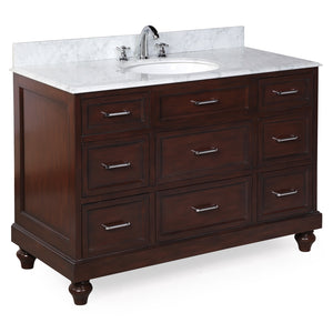 "Amelia 48"" Chocolate Brown Bathroom Vanity with Carrara Marble Top"