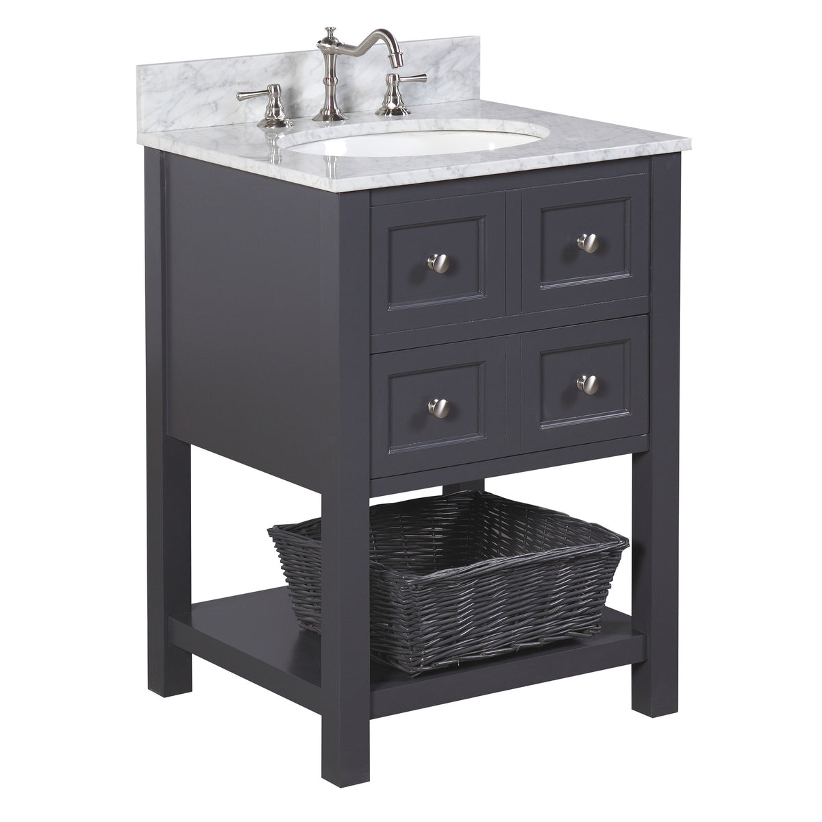 New Yorker 24 Inch Vanity Carrara Charcoal Gray Kitchenbathcollection