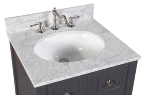 New Yorker 24-inch Vanity (Carrara/Charcoal Gray)