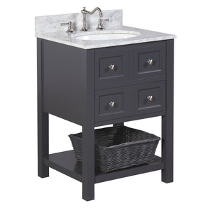 "New Yorker 24"" Charcoal Gray Bathroom Vanity with Carrara Marble Top"