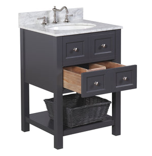 New Yorker 24-inch Vanity with Carrara Marble Top