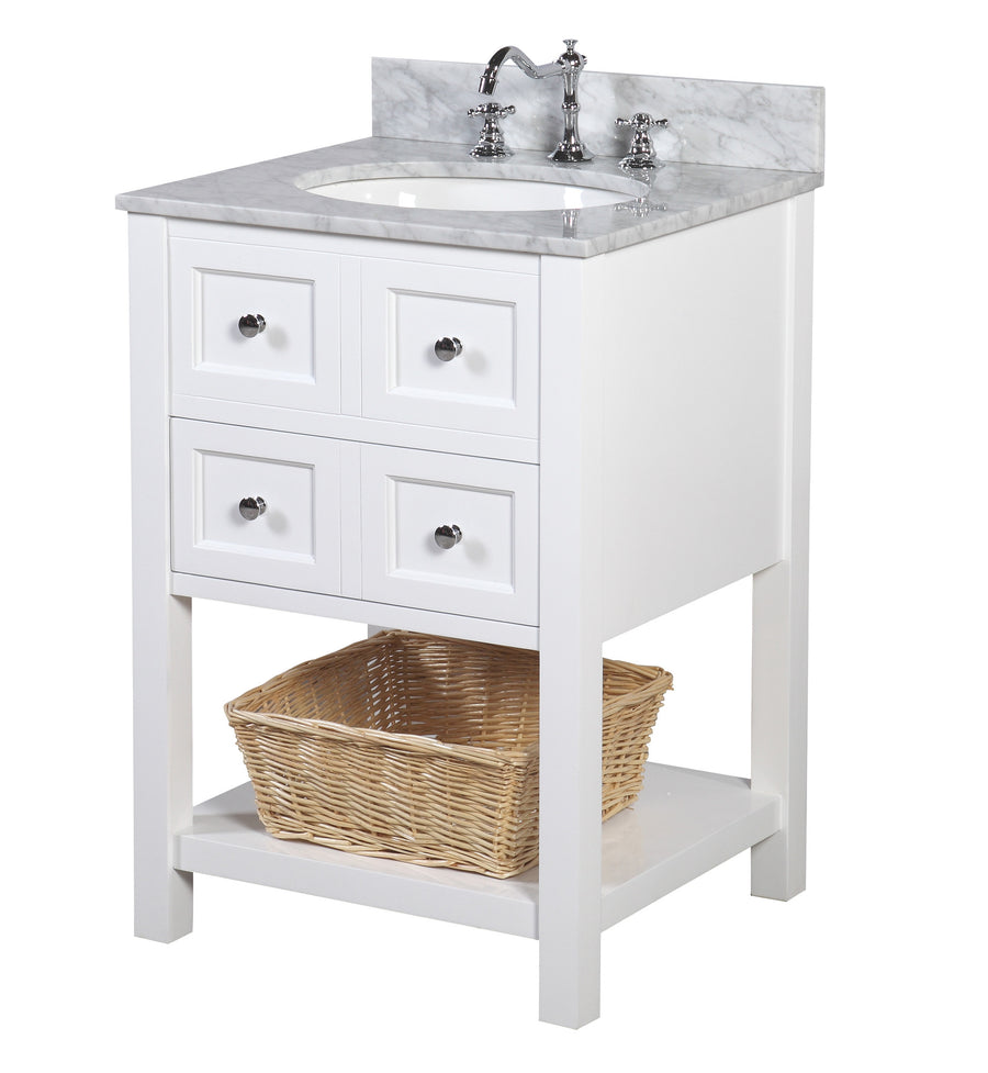 "New Yorker 24"" White Bathroom Vanity with Carrara Marble Top"