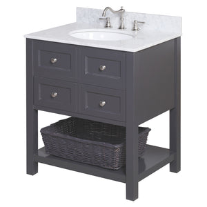 New Yorker 30-inch Vanity with Carrara Marble Top