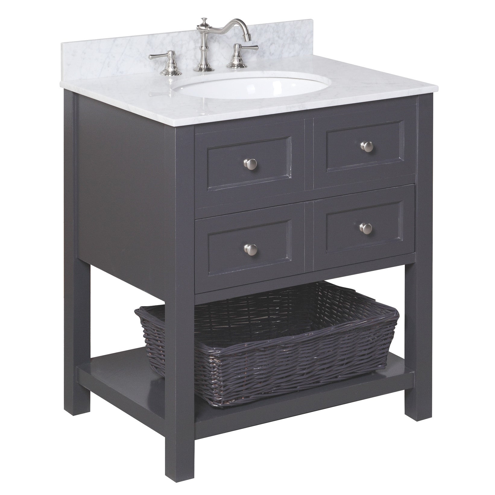 New Yorker 30-inch Vanity (Carrara/Charcoal Gray)