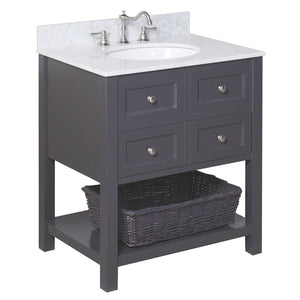 "New Yorker 30"" Charcoal Gray Bathroom Vanity with Carrara Marble Top"