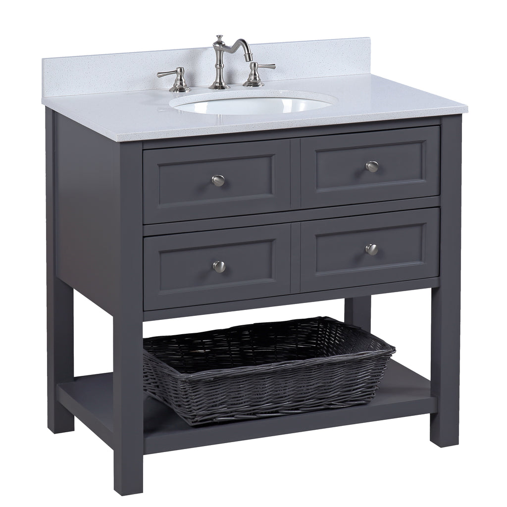 New Yorker 36-inch Vanity (Quartz/Charcoal Gray)