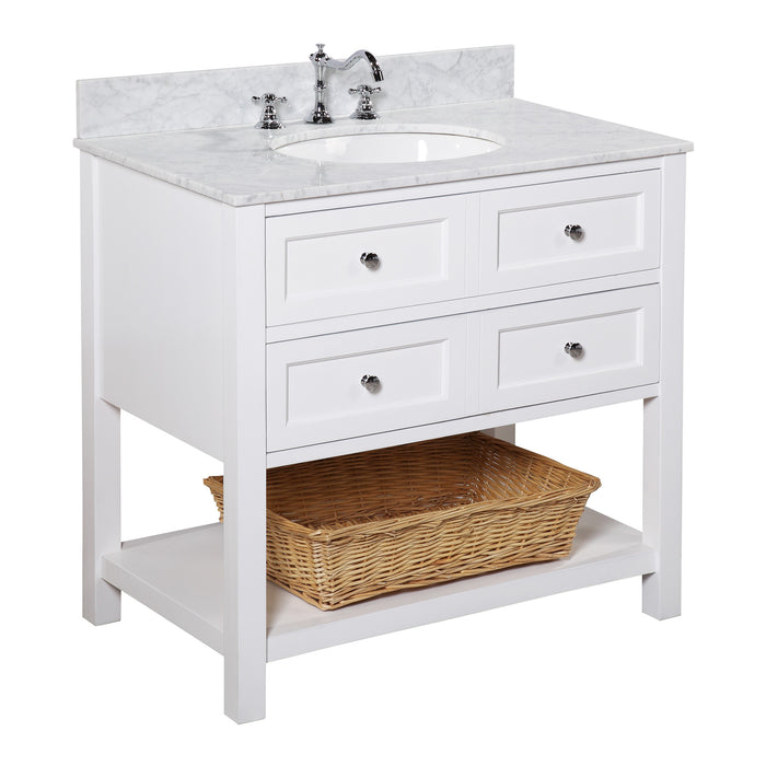 New Yorker 36-inch Vanity (Carrara/White)