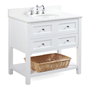 "New Yorker 36"" White Bathroom Vanity with Quartz Top"