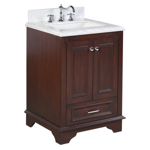 "Nantucket 24"" Bathroom Vanity in Carrara & Chocolate"