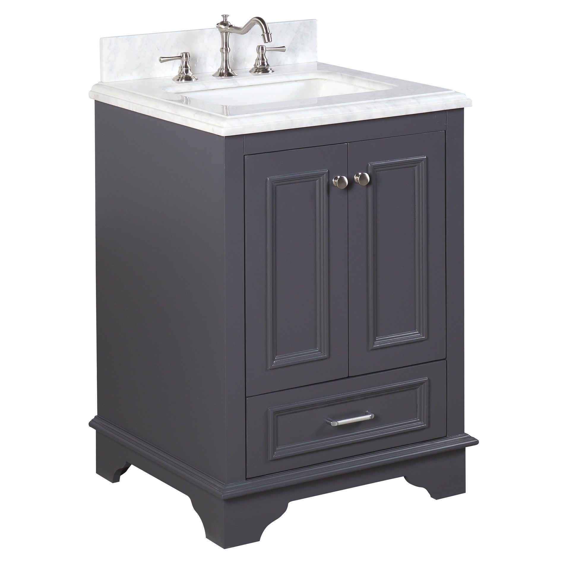 Nantucket 24 Inch Vanity Carrara Charcoal Gray