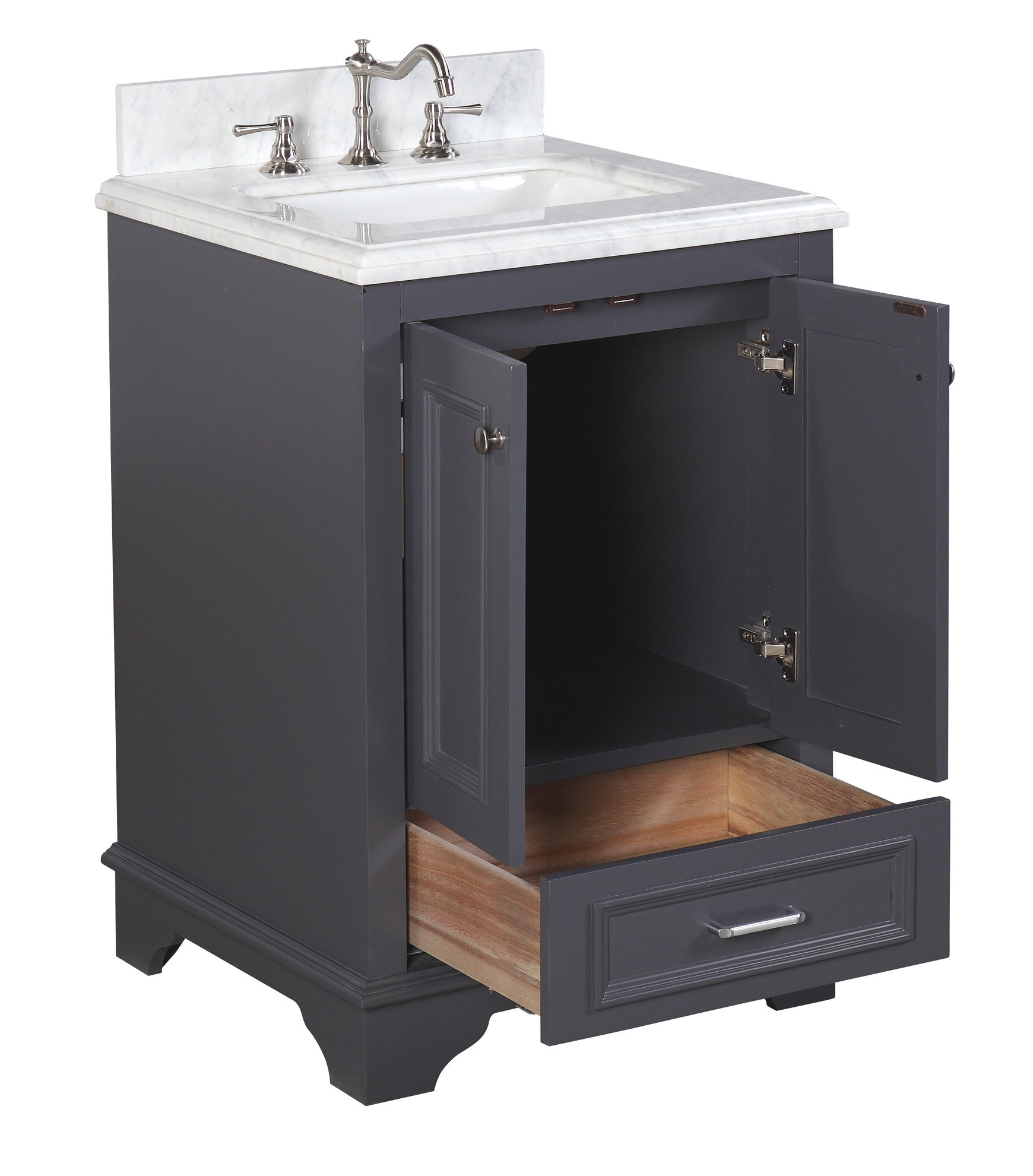 Nantucket 24-inch Vanity (Carrara/Charcoal Gray)