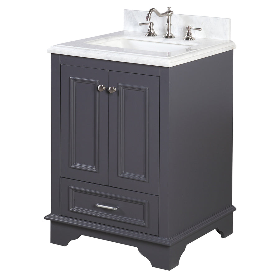 "Nantucket 24"" Bathroom Vanity in Carrara & Charcoal Gray"