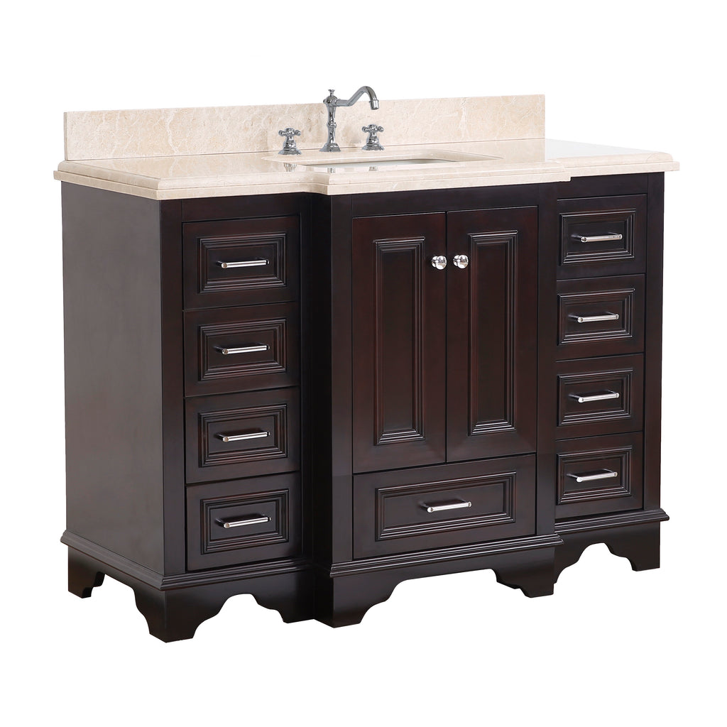 Nantucket 48-inch Vanity (Crema Marfil/Chocolate)
