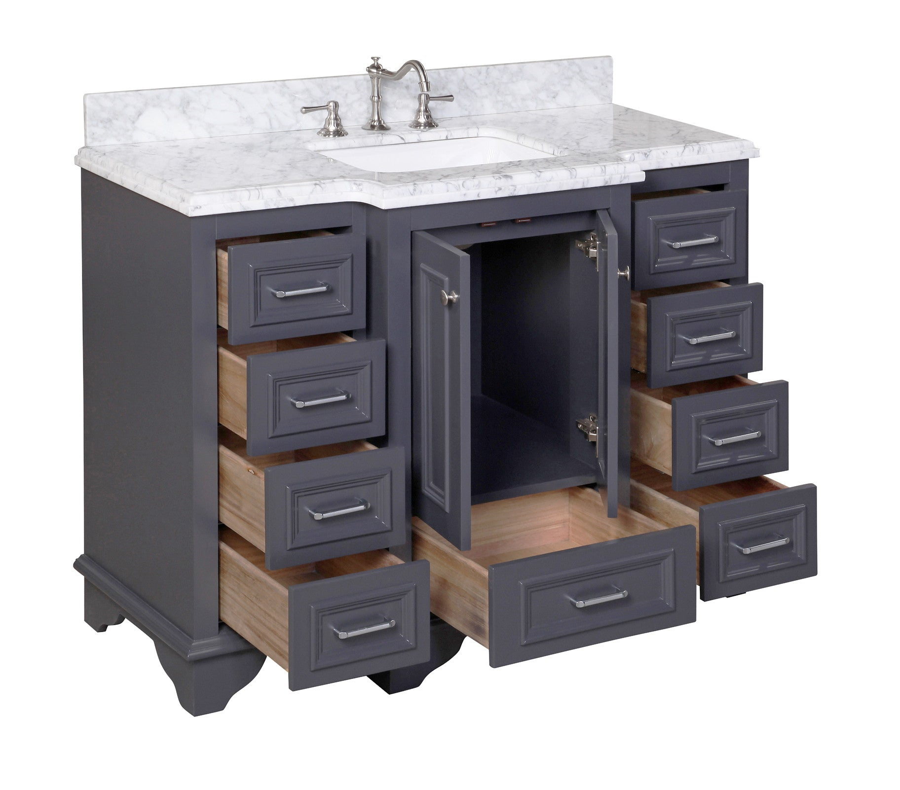 Nantucket 48 Traditional Bathroom Vanity With Carrara Marble Top Kitchenbathcollection