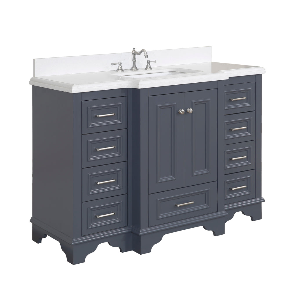 Nantucket 48-inch Vanity (Quartz/Charcoal Gray)