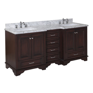 "Nantucket 72"" Bathroom Vanity in Carrara Marble & Chocolate"
