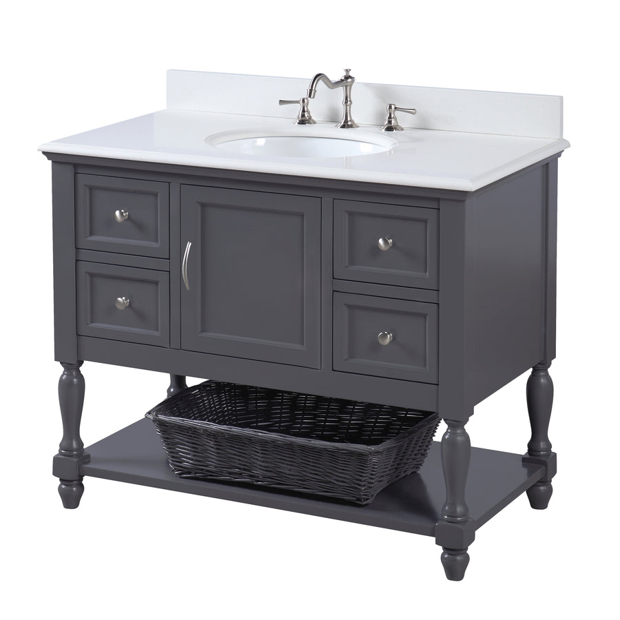 "Beverly 42"" Charcoal Gray Bathroom Vanity with Quartz Top"