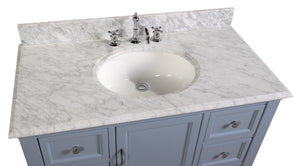 Beverly 42-inch Vanity (Carrara/Powder Blue)