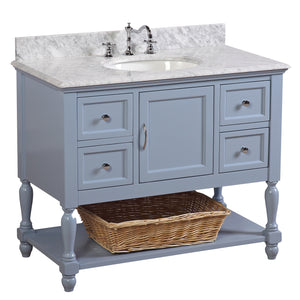 "Beverly 42"" Powder Blue Bathroom Vanity with Carrara Marble Top"