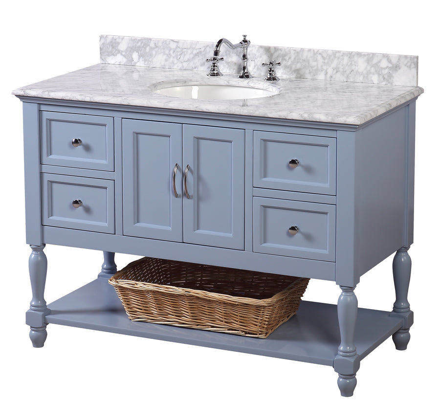 Beverly 48-inch Vanity (Carrara/Powder Blue)