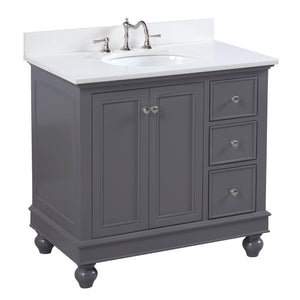 "Bella 36"" Charcoal Gray Bathroom Vanity with Quartz Top"