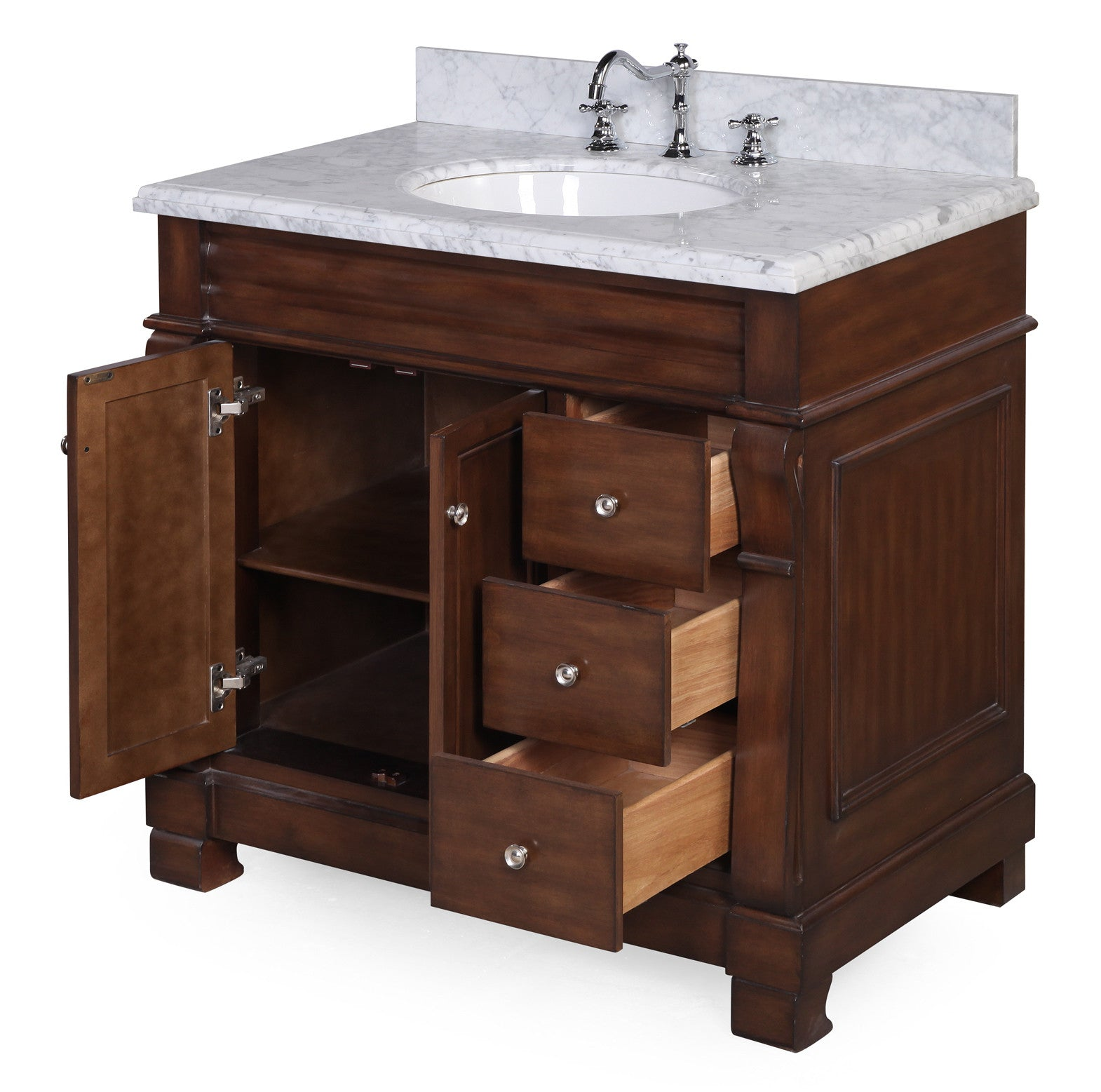 Westminster 36-inch Vanity (Carrara/Brown)