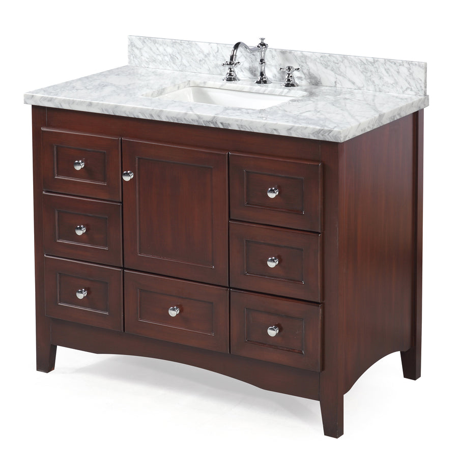 Abbey 42-inch Vanity (Carrara/Chocolate)
