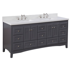 "Abbey 72"" Bathroom Vanity in Quartz & Charcoal Gray"