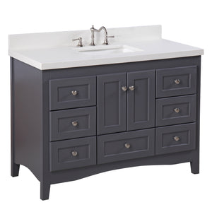 "Abbey 48"" Charcoal Gray Shaker Style Bathroom Vanity with Quartz Top"