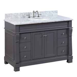 "Westminster 48"" Charcoal Gray Bathroom Vanity with Carrara Marble Top"