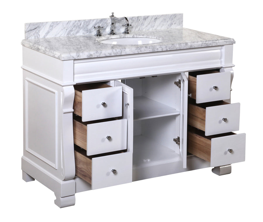 "Westminster 48"" White Bathroom Vanity with Carrara Marble Top"