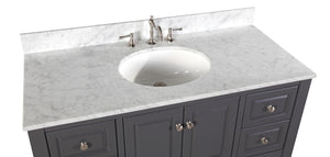 Washington 48-inch Vanity with Carrara Marble Top