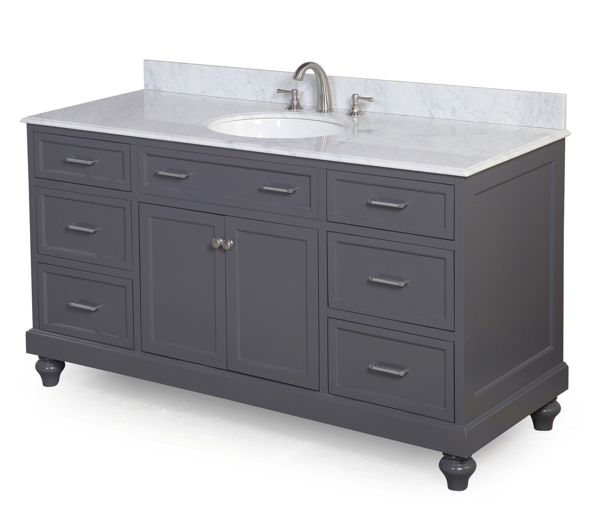 Amelia 60-inch Single (Carrara/Charcoal Gray)
