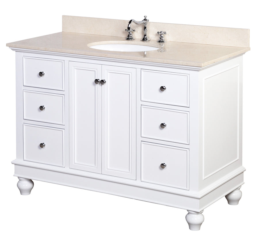 "Bella 48"" White Bathroom Vanity with Crema Marfil Top"