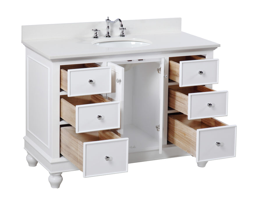 "Bella 48"" White Bathroom Vanity with Quartz Top"