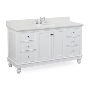 "Bella 60"" Single Sink Bathroom Vanity in Quartz & White"