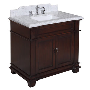 "Elizabeth 36"" Chocolate Brown Bathroom Vanity with Carrara Marble Top"