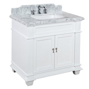 "Elizabeth 36"" White Bathroom Vanity with Carrara Marble Top"