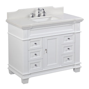 "Elizabeth 42"" White Bathroom Vanity with Quartz Top"