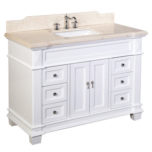 "Elizabeth 48"" White Bathroom Vanity with Crema Marfil Top"