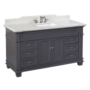 "Elizabeth 60"" Charcoal Gray Bathroom Vanity with Quartz Top"