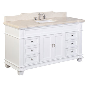 "Elizabeth 60"" Single Sink Bathroom Vanity in Crema Marfil & White"